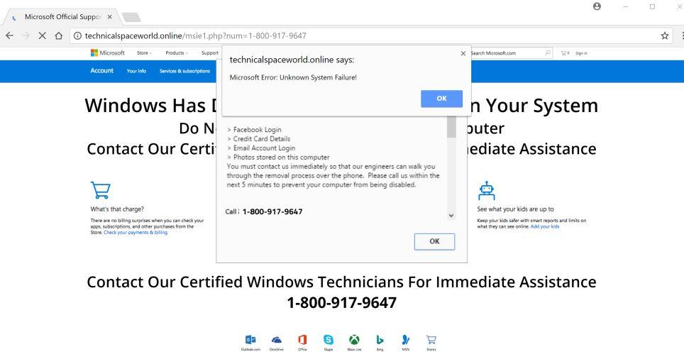 Technicalspaceworld.online +1-800-917-9647 scam virus