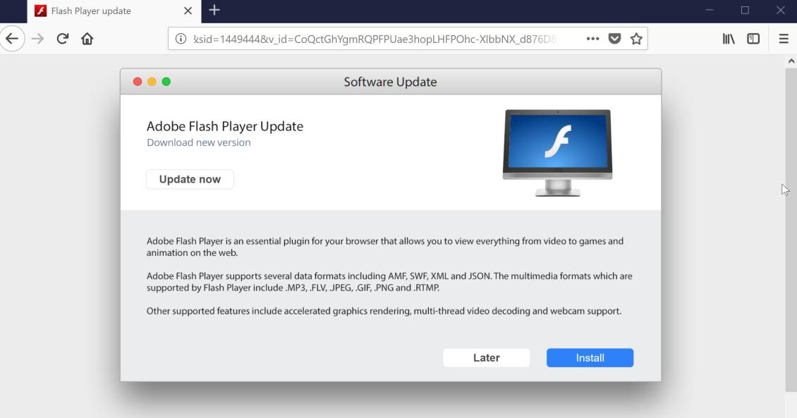 Adobe Flash Player Update Scam Virus