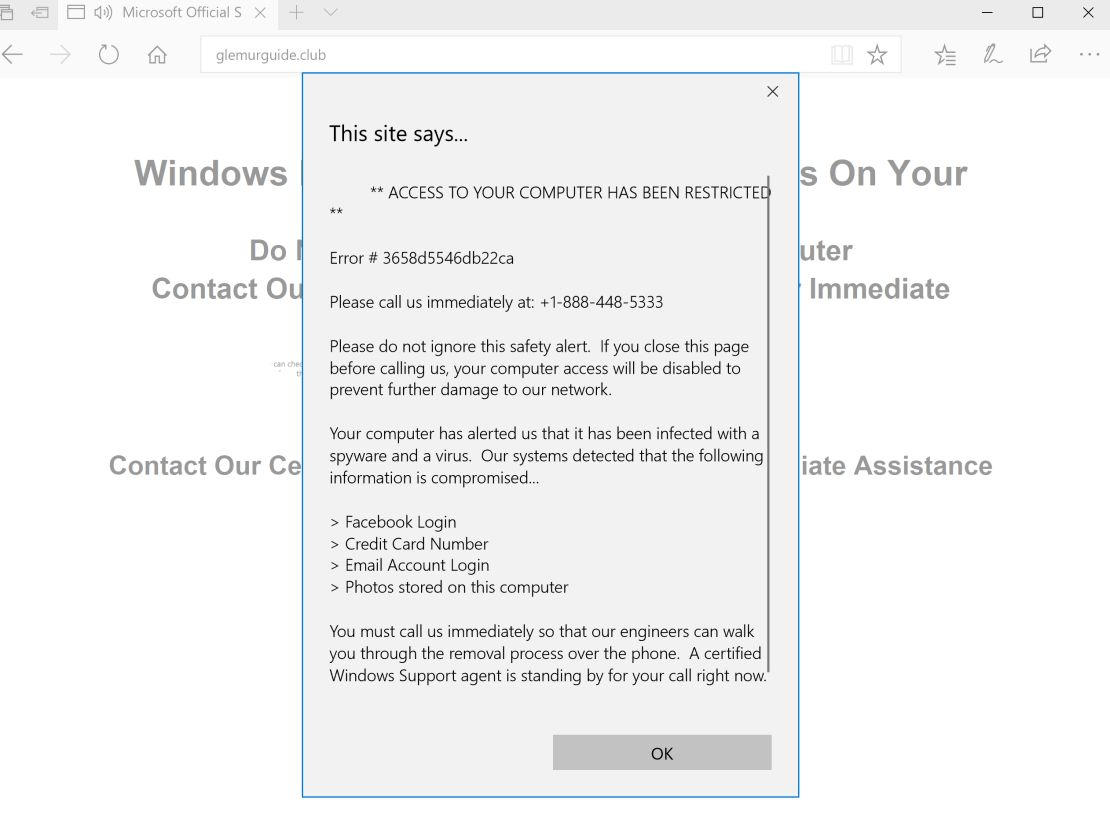 Critical Alert from Microsoft Scam Virus
