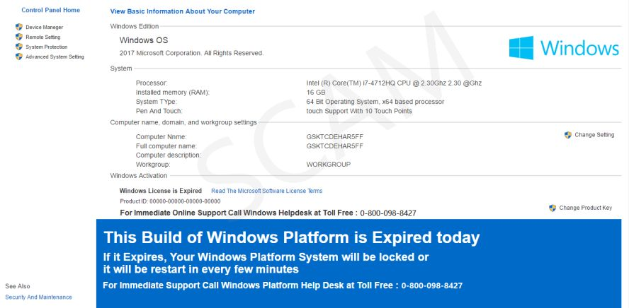 This Build of Windows Platform is Expired Today Scam Virus