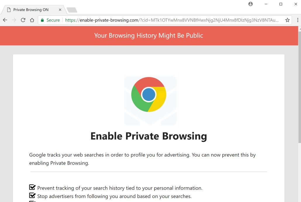 Remove Enable-private-browsing com pop-up ads (Removal Guide)