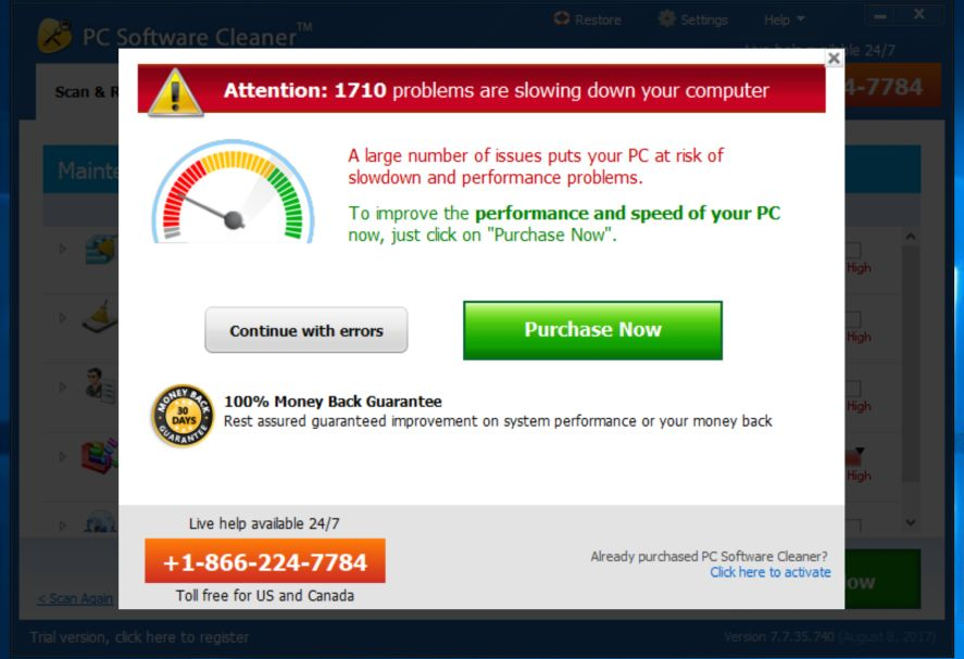 PC Software Cleaner 7 Adware