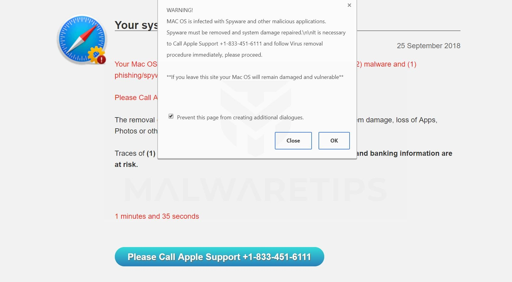WARNING! MAC OS Is Infected Pop-up Scam virus
