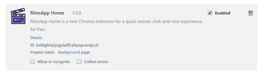 filmsApp Home redirect virus