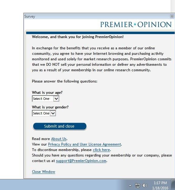 PremierOpinion Adware Virus