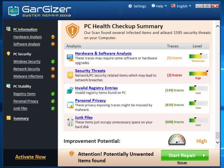 Gargizer System Repair Adware