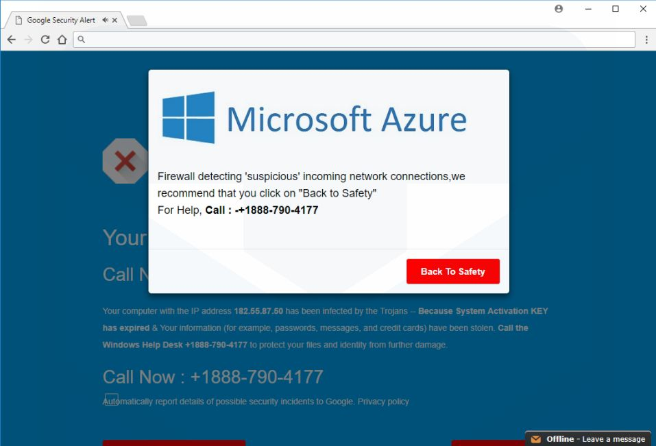 Microsoft Azure pop-up scam virus