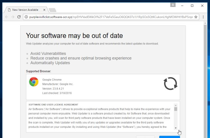 Your Browser is out of date pop-up scam virus
