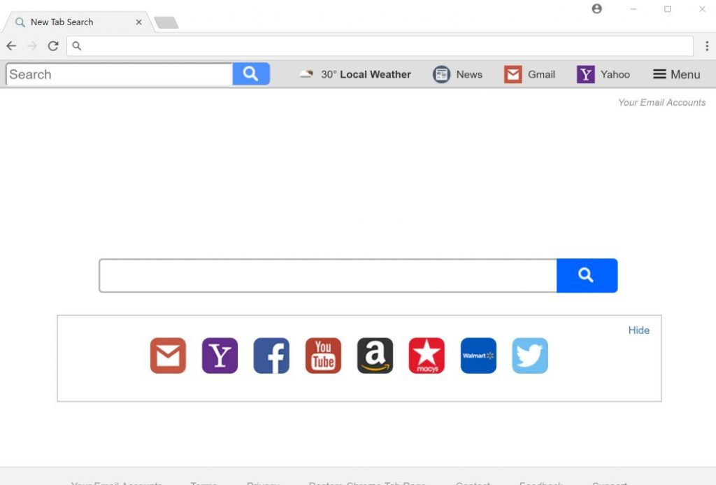 Your Email Accounts New Tab redirect