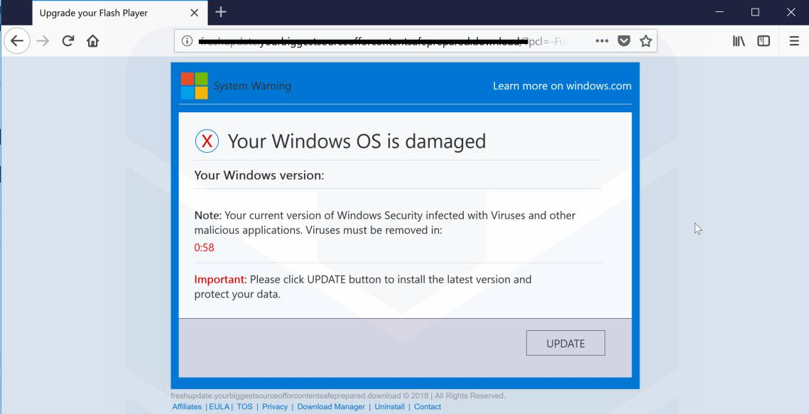 Your Windows OS is damaged Scam