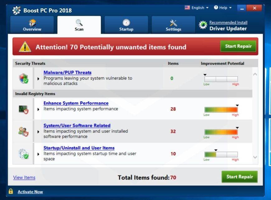 Boost PC Pro 2018 adware
