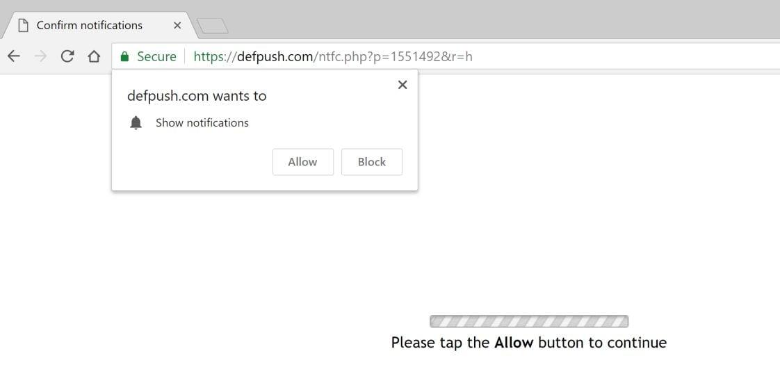 defpush.com redirect virus