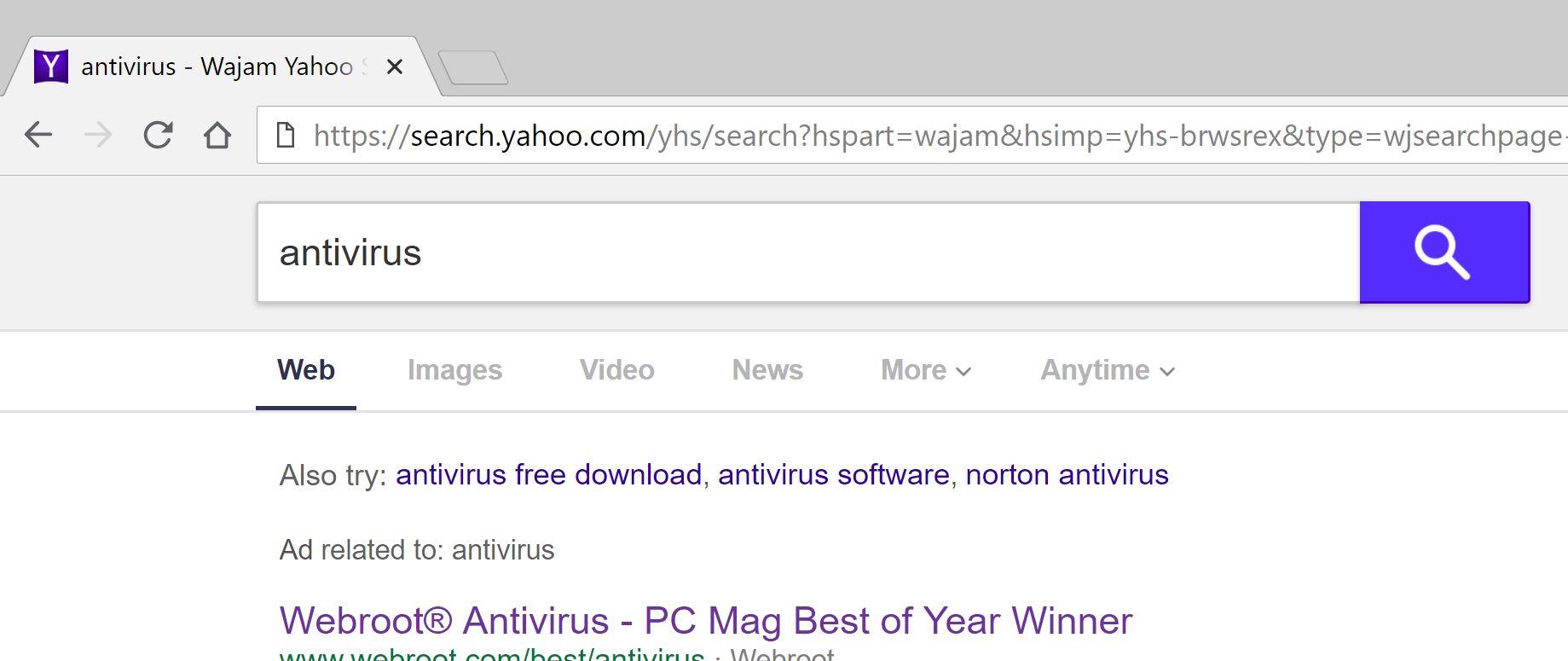 Wajam Yahoo Search redirect