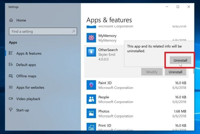 Click again on the Uninstall button to remove the malicious program - Windows 10