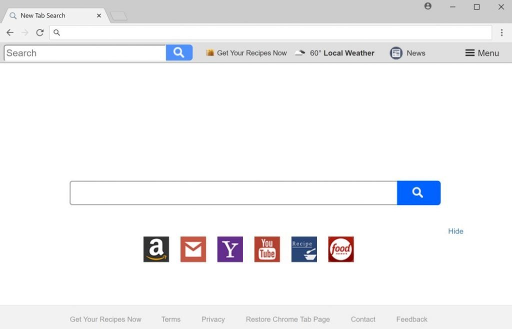 Get Your Recipes Now New Tab Search redirect