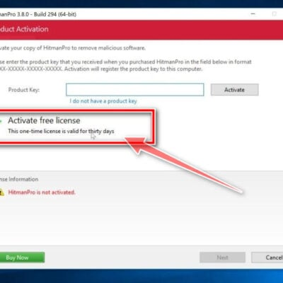 Click on the Activate free license button