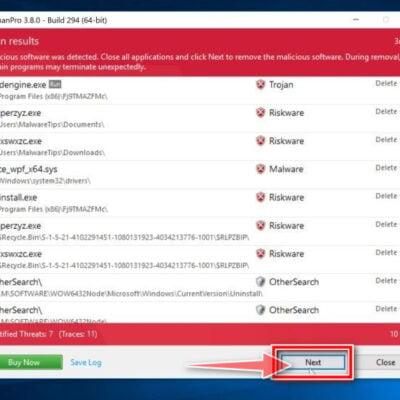 HitmanPro scan summary. Click Next to remove malware