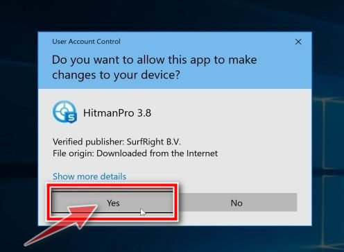 Windows asking for permissions to run the HitmanPro setup file - Help Guide
