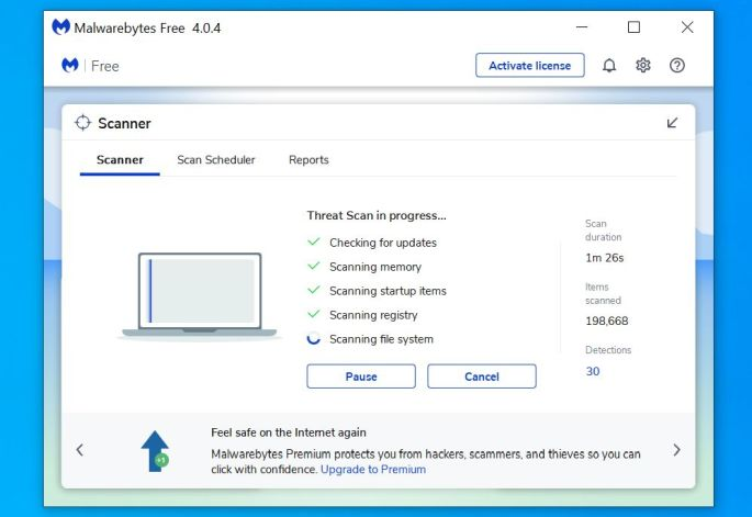Malwarebytes scanning PC for Windows Security Center malware