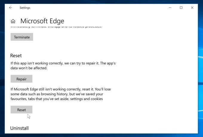Microsoft Edge Reset Settings to removeo Windows Security Center