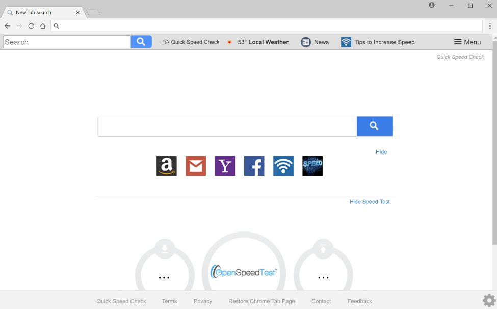 Quick Speed Check New Tab Search redirect