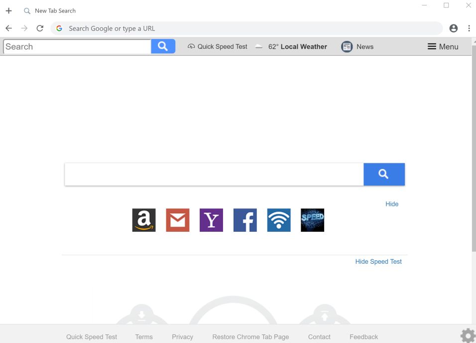 Quick Speed Test New Tab Search redirect
