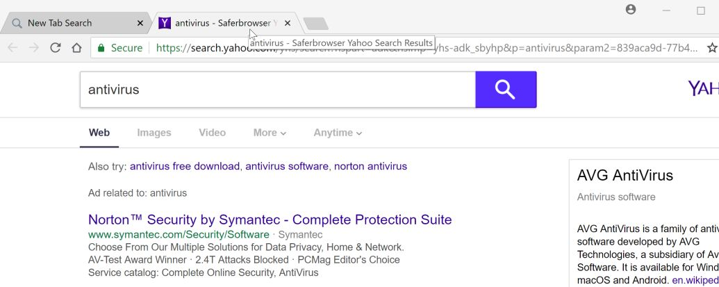 Saferbrowser Yahoo Search redirect