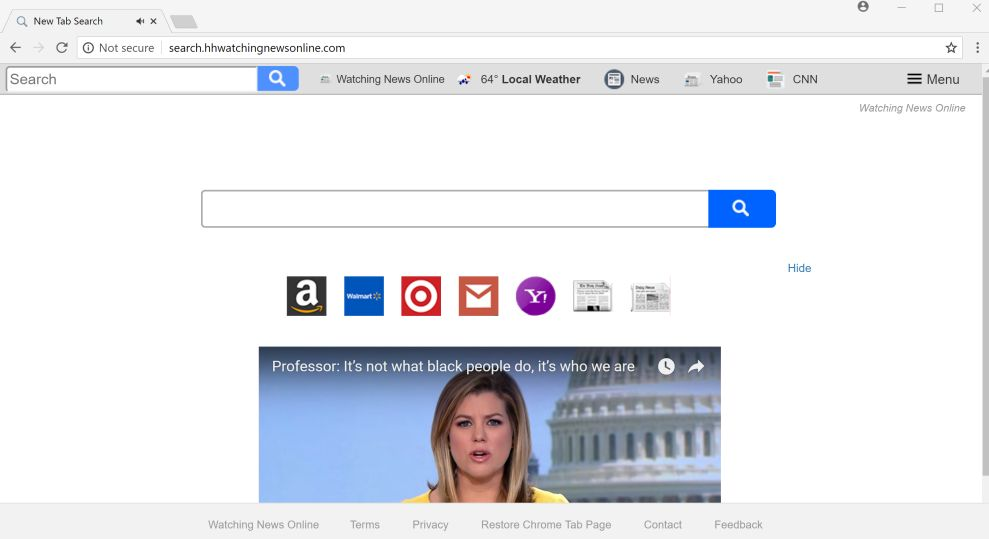 Watching News Online New Tab Search redirect