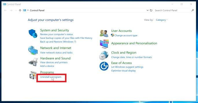 Click on Uninstall a Program option - Windows 10