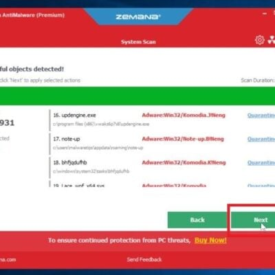 Click Next to remove malware found by Zemana AntiMalware