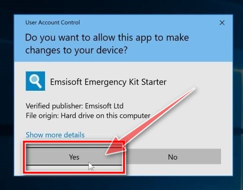 Allow Emsisoft to run on your PC - UAC