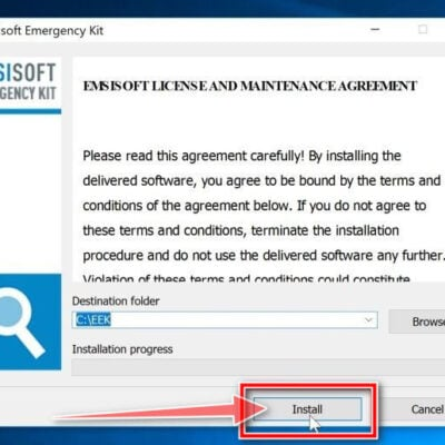 Click on the Install button to install Emsisoft