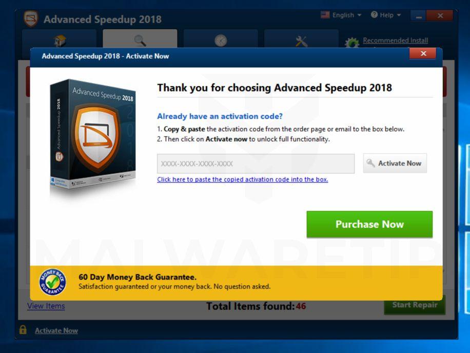 Advanced Speedup 2018 Popup