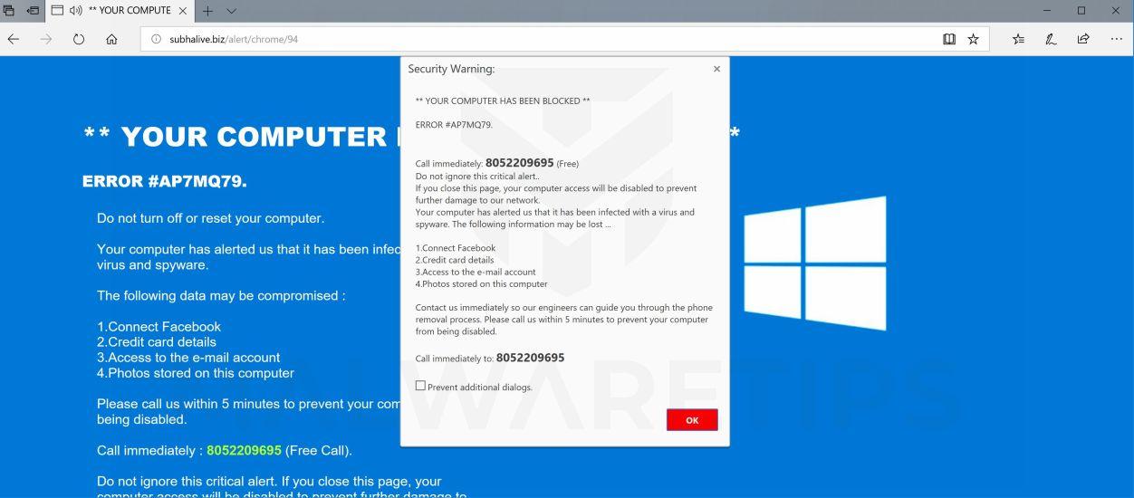 ERROR # AP7MQ79 Microsoft Scam Virus