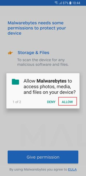 Malwarebytes for Android - Setup Wizard 5