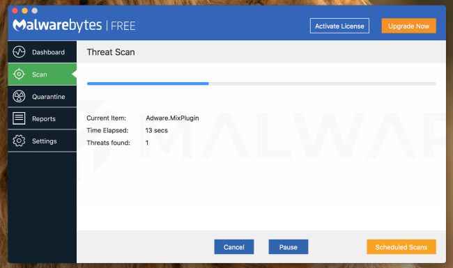Malwarebytes for Mac scanning for Advanced Mac Cleaner virus
