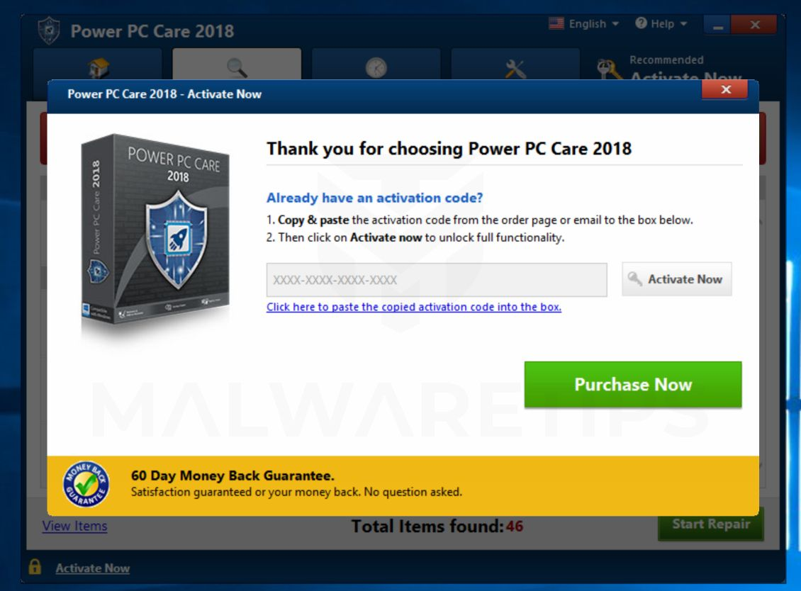 Power PC Care 2018 Pop-up Virus