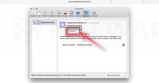 Click on Uninstall to remove the WARNING! MAC OS Is Infected pop-ups