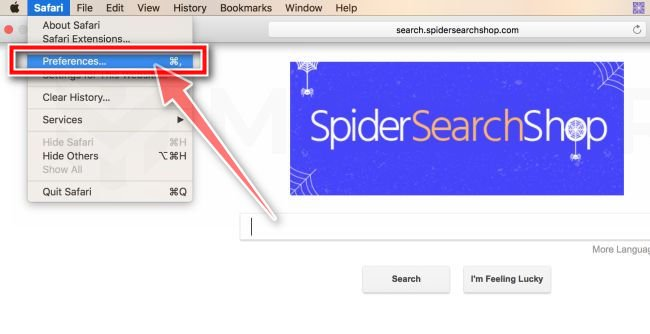 On the Menu bar Click on Safari then Preference