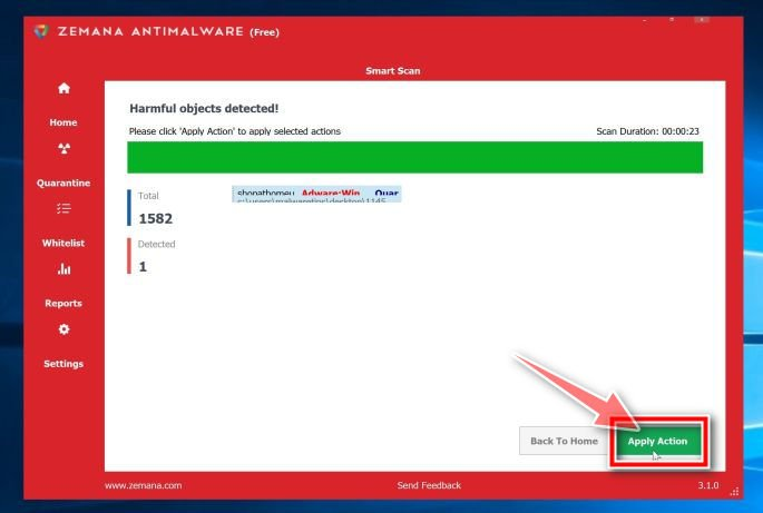 Image: Click Apply actions to remove malware found by Zemana AntiMalware