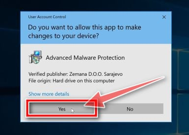 Image: Click Yes to install Zemana AntiMalware