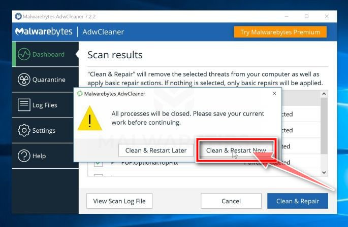 Click Clean & Restart Now to remove PDF Extra Search virus