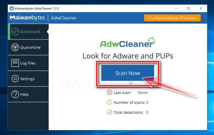 AdwCleaner Scan Now button