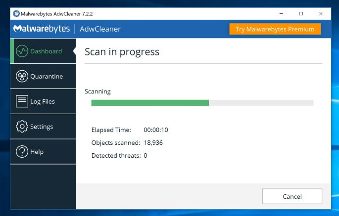 AdwCleaner Scanning for Microsoft or Apple Tech Support Scam virus