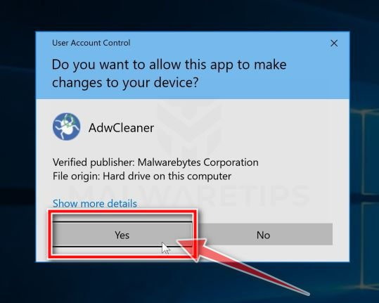 AdwCleaner and Windows User Account Control Pop-up