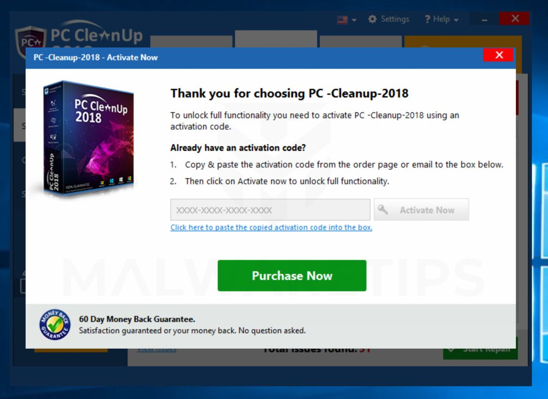 PC Cleanup 2018 Pop-up