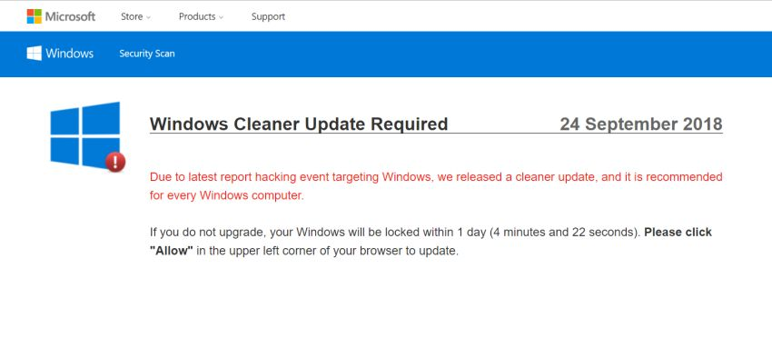 Windows Cleaner Update Required Pop-up Scam Virus