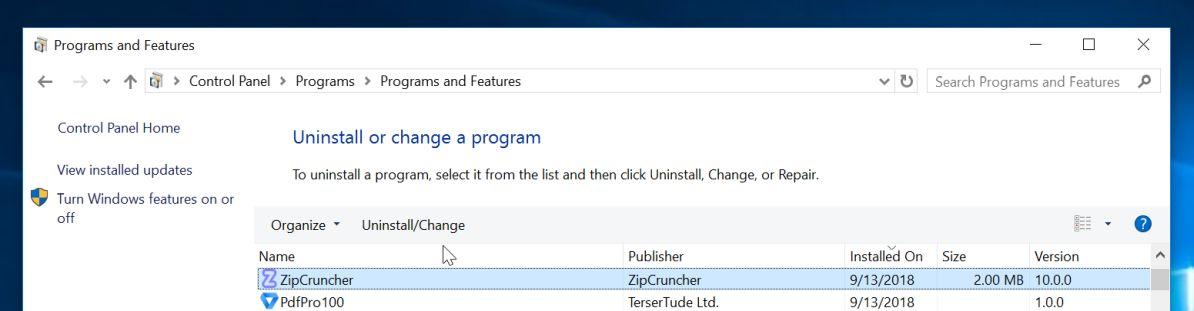 Uninstall Zip Cruncher Adware