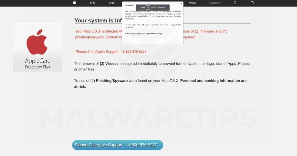 MAC OS is infected with Viruses Scam