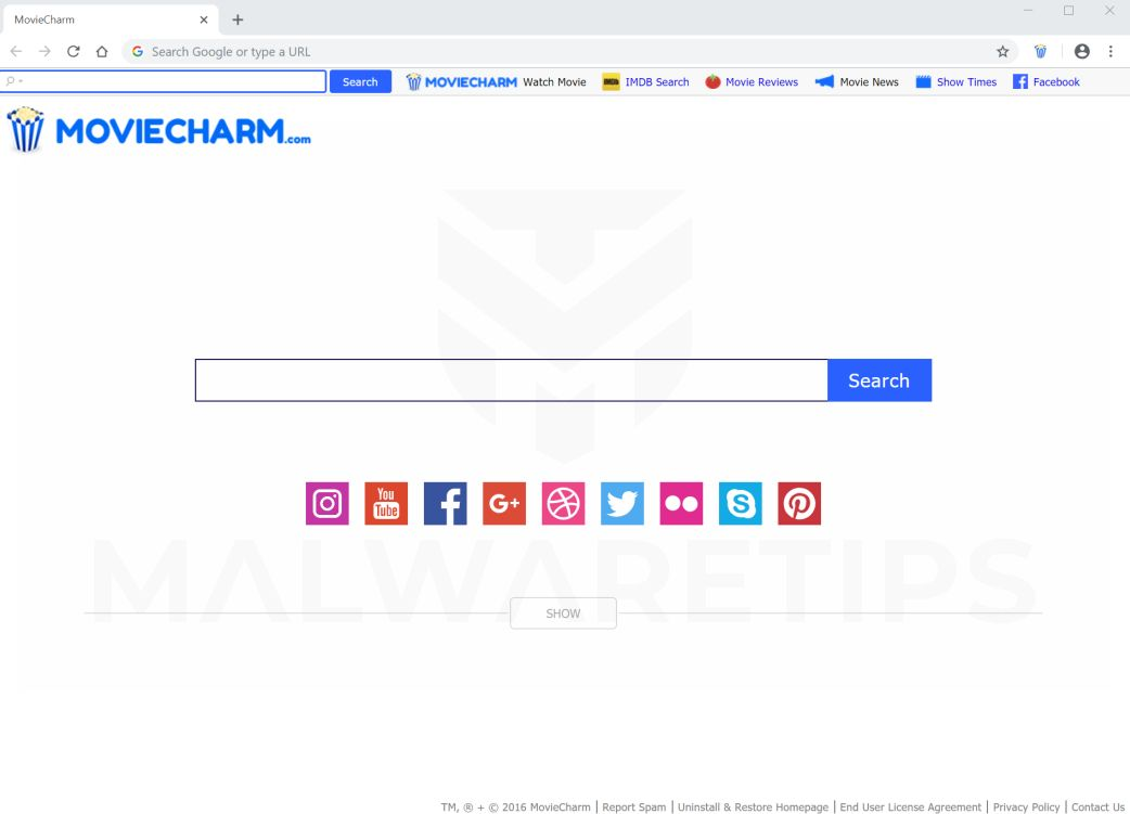 MovieCharm.com New Tab redirect